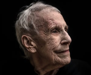 Head shot of Irene Wilding, 92, who has dementia, against a black background