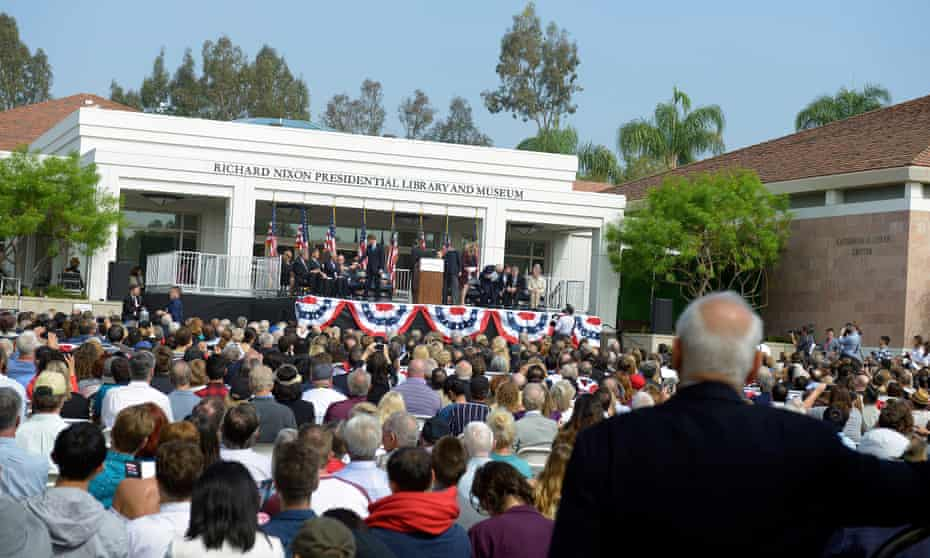 Crowds gather at the opening ceremony for the reopening of the Richard Nixon Library and Museum in Yorba Linda, California.