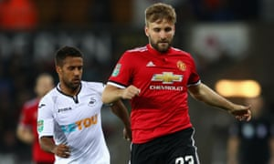 Luke Shaw making a brief appearance for Manchester United at Swansea