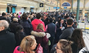 Huge queues form at the Eurostar terminal in Paris