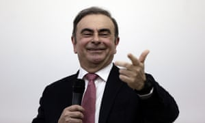 Carlos Ghosn during his animated and sometimes provocative press conference in Beirut.