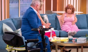Tanyalee Davis with hosts Eamonn Holmes and Ruth Langford on ITV's This Morning show after the first incident.