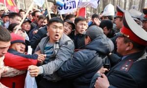 Kyrgyz opposition rally in Bishkek, Kyrgyzstan
