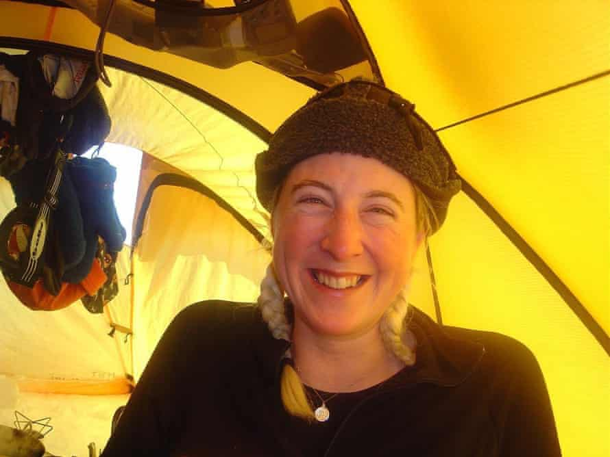 Hannah McKeand in her tent on an Antarctic expedition. record.