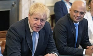 Boris Johnson and Sajid Javid in a cabinet meeting last year.