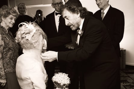 Howard Jacobson and his wife Jenny De Yong at their wedding in 2005