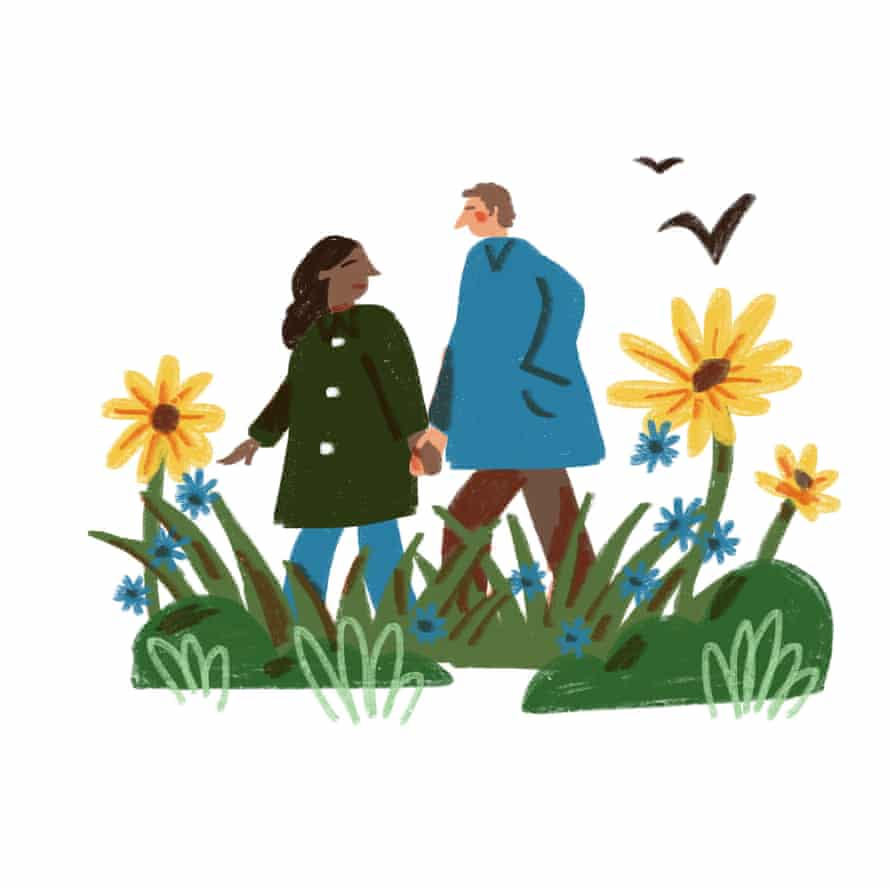 illustration of couple out for a walk
