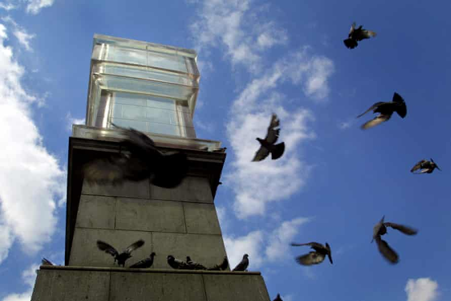 Rachel Whiteread's Monument, a clear resin mirror image of the fourth plinth in Trafalgar Square, 2001.