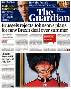 Guardian front page, Friday 26 July 2019