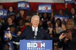Joe Biden at his victory rally in Columbia, South Carolina. He said: 'The days of Donald Trump's divisiveness will soon be over.'