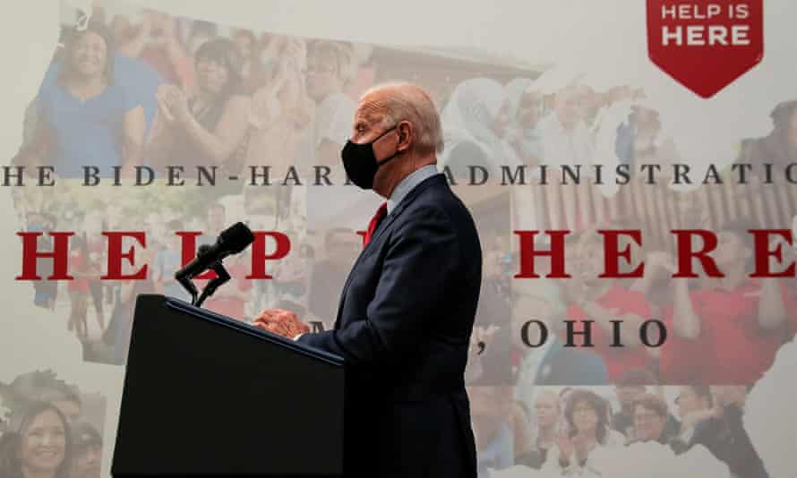 Joe Biden speaks in Columbus, Ohio during an event to tout the $1.9tn American Rescue Plan Act.