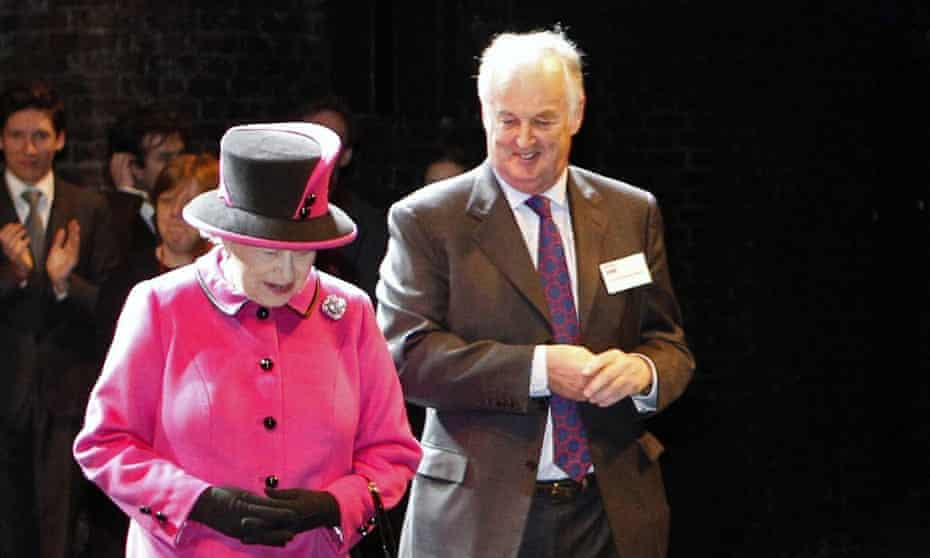 Sir Christopher Bland with the Queen at the Royal Shakespeare Theatre in Stratford-upon-Avon.