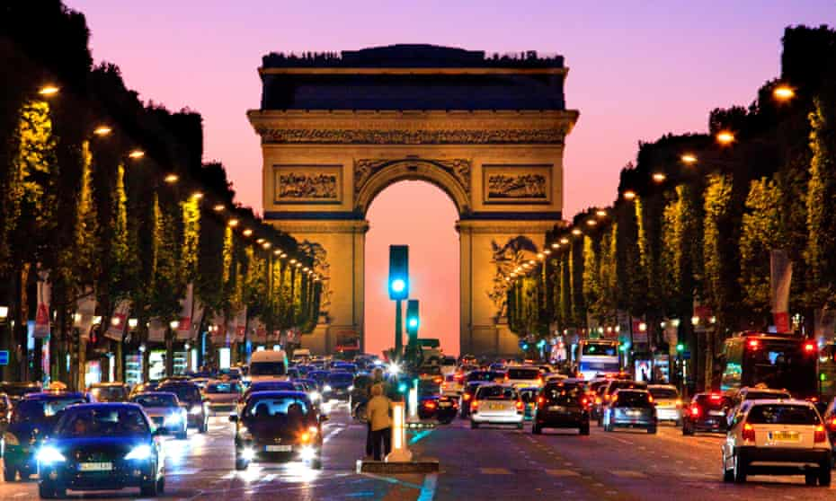 Paris: the Arc de Triomphe and Champs Elysees at night