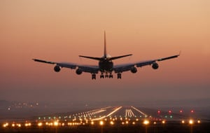 A plane coming in to land at Gatwick Airport.