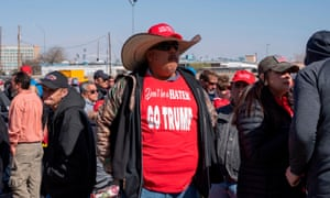 Trump supporters gather to attend his rally in El Paso, Texas.