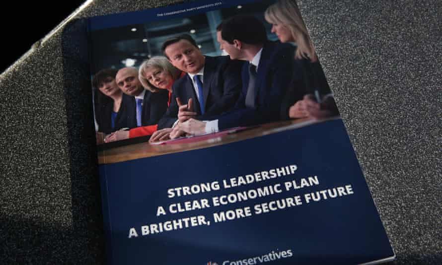 A copy of the Conservative party election manifesto for 2015.