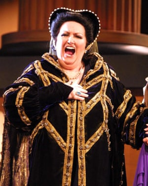 Montserrat Caballé playing Catherine of Aragon in Henry VIII at the Grand Theatre in Córdoba, Spain in January 2002