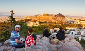 Evening view of Acropolis from Filopappou Hill.