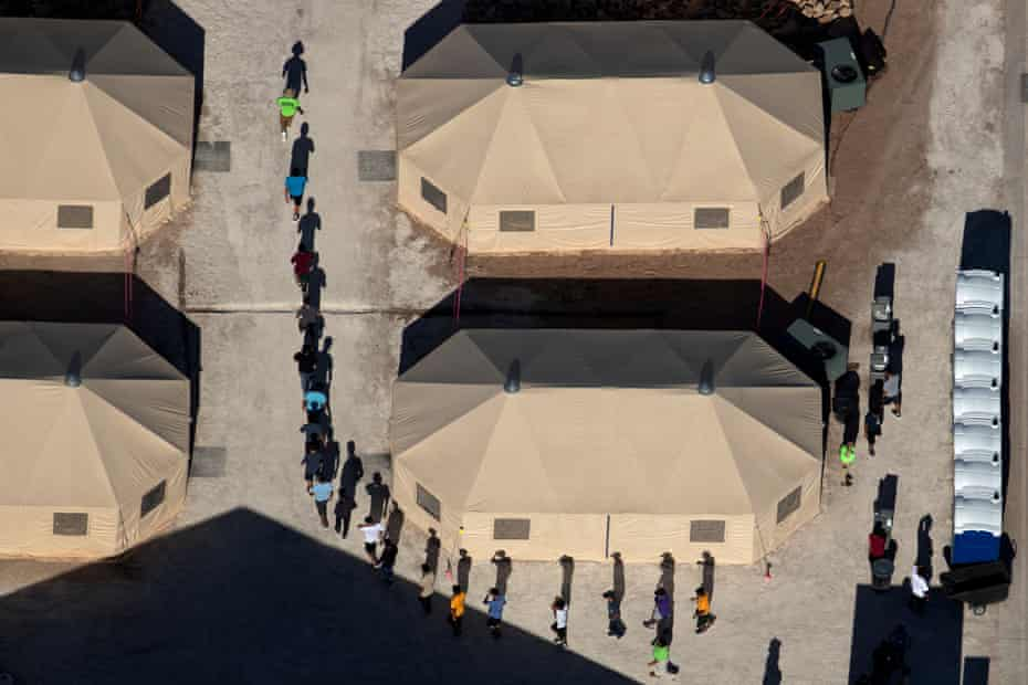 Children led into a detention facility in Tornillo, Texas, during the height of the family separation crisis in June.