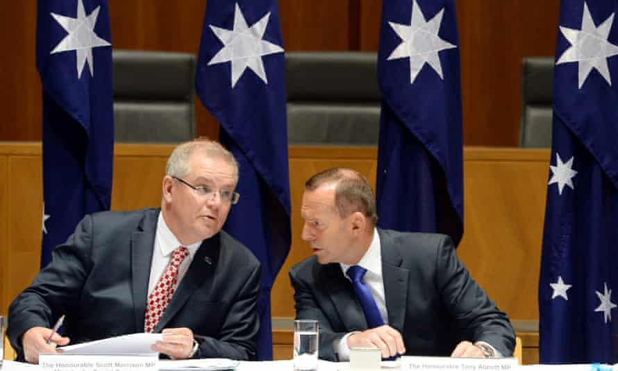 Australian social services minister Scott Morrison and former prime minister Tony Abbott in happier times.