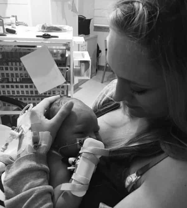 Nina with her son in hospital