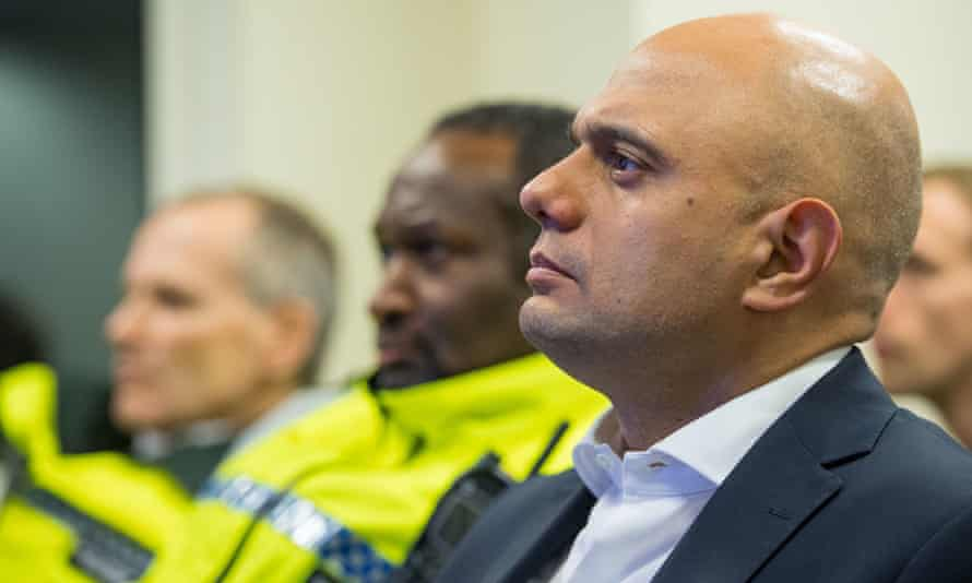 The home secretary, Sajid Javid, at Brixton police station, south London, in January when he unveiled plans for youth knife crime prevention orders.