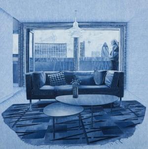Jeans genius: artwork made of used denim fabric.
