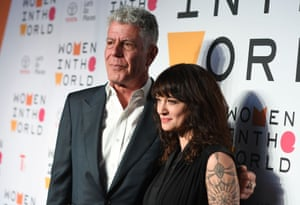 Anthony Bourdain with his girlfriend, the actor Asia Argento,