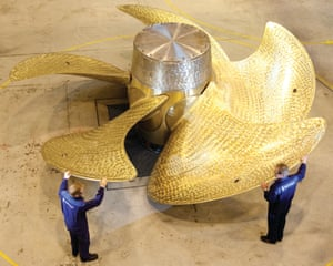 Large ship propeller by Rolls-Royce.