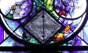 A stained glass panel in Poets' Corner, Westminster Abbey, commemorates Fanny Burney