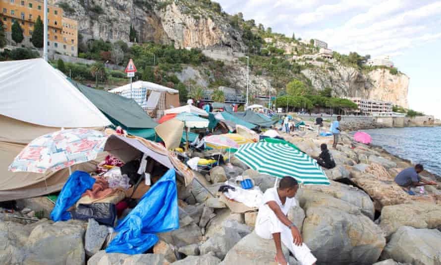 African migrants camp out on the shoreline in Ventimiglia, hoping to reach France and other European countries.