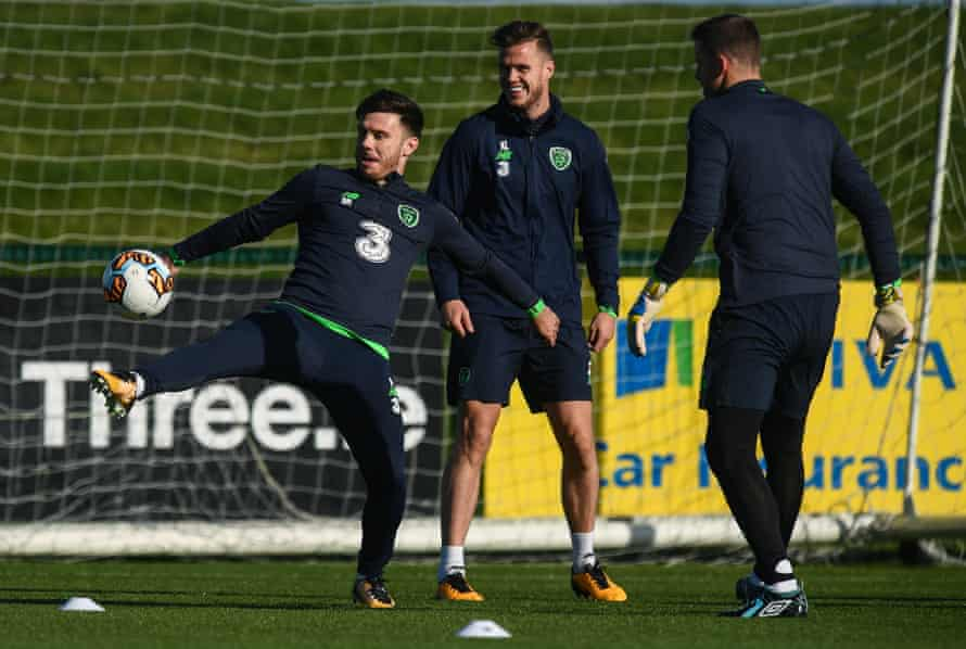 Republic of Ireland's squad, including Scott Hogan (left) who also bolsters Martin O'Neill's attacking options, train before their game against Moldova