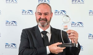 Kilmarnock's Steve Clarke was named manager of the year at the Scotland PFA Awards this month.