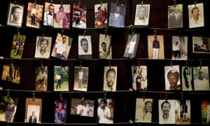 Family photographs of some of those who died in the 1994 Rwanda genocide.