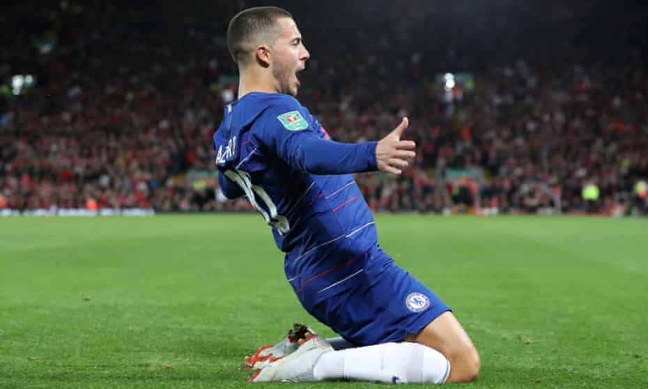 Eden Hazard celebrates his stunning winning goal for Chelsea at Liverpool in the Carabao Cup.