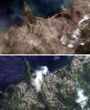 A before and after satellite image of Richmond Vale waterfront covered in volcanic ash.