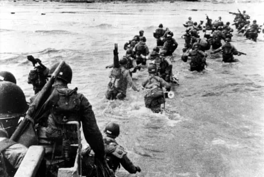American troops wade ashore at Utah beach on D-Day, Normandy, France, 6 June 1944.