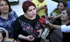 Khadija Ismayilova speaks to the press after her release from a Baku jail.