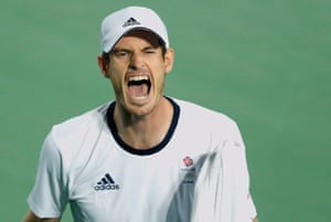 Day nineAndy Murray shouts to his players box during his victory over Juan Martin Del Potro in the men's singles gold medal match at the Olympic tennis centre in Barra Olympic Park