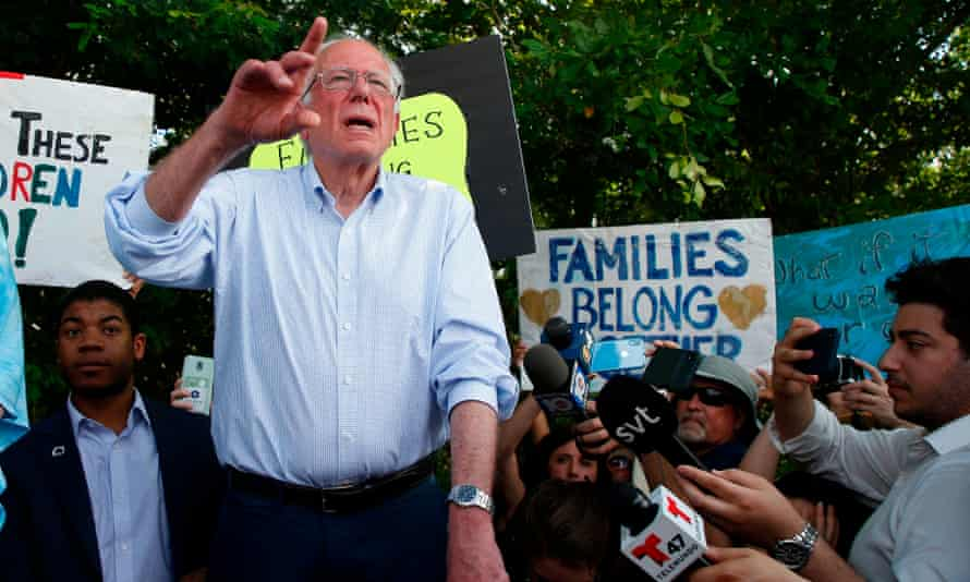 Bernie Sanders speaks in front of the Homestead facility in Florida, on 26 June.
