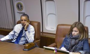 High flyers: Alyssa Mastromonaco on Air Force One with Barack Obama in 2012.