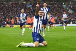 Brighton and Hove Albion's Pascal Gross bagged the first goal against Everton.