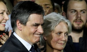 François Fillon with his wife, Penelope, at a rally in Paris in January.