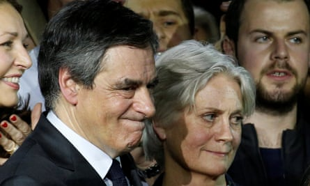 François and Penelope Fillon at a rally in Paris on Sunday