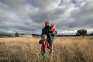 Mother Jessica Taylor, with Bony, 18 months, and Charlie,4, on their farm outside Coonabarabran.