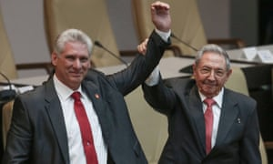 Raul Castro (right) with new president Miguel Díaz-Canel  in Havana, Cuba