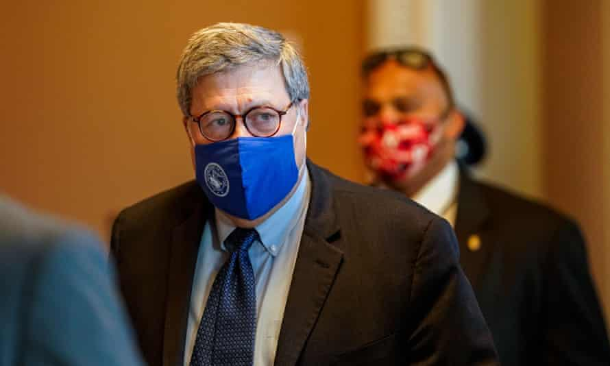 William Barr at the US Capitol building on 9 November.