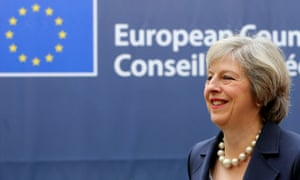 Theresa May arriving at the EU summit in Brussels