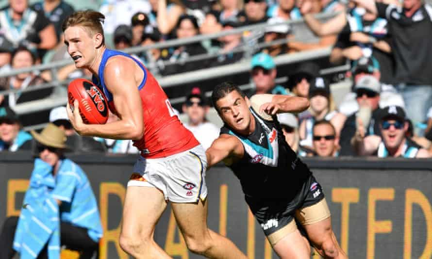 Tom Rockliff during Port Adelaide's clash with Brisbane