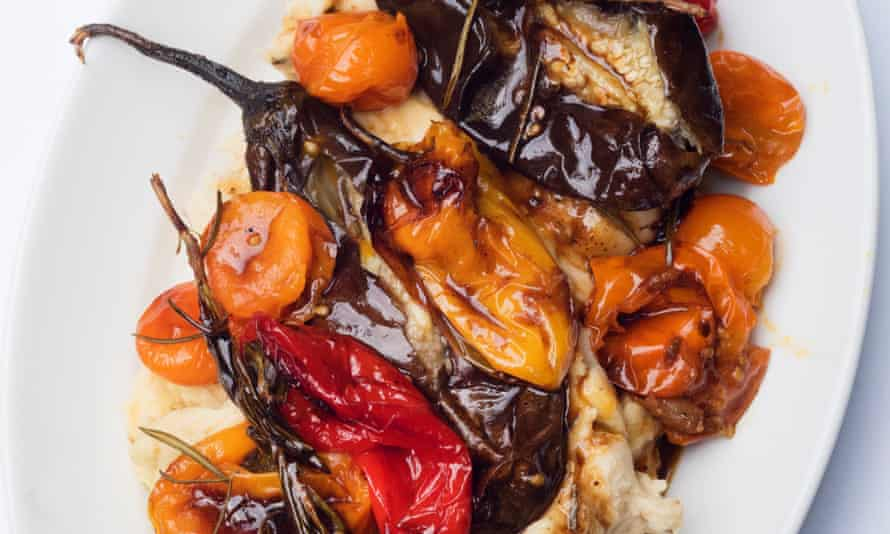 Full of flavour: roast peppers and tomatoes, butter bean mash.